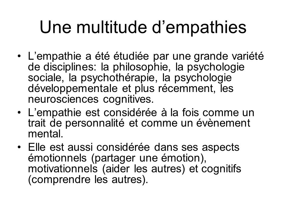 Une multitude d'empathies