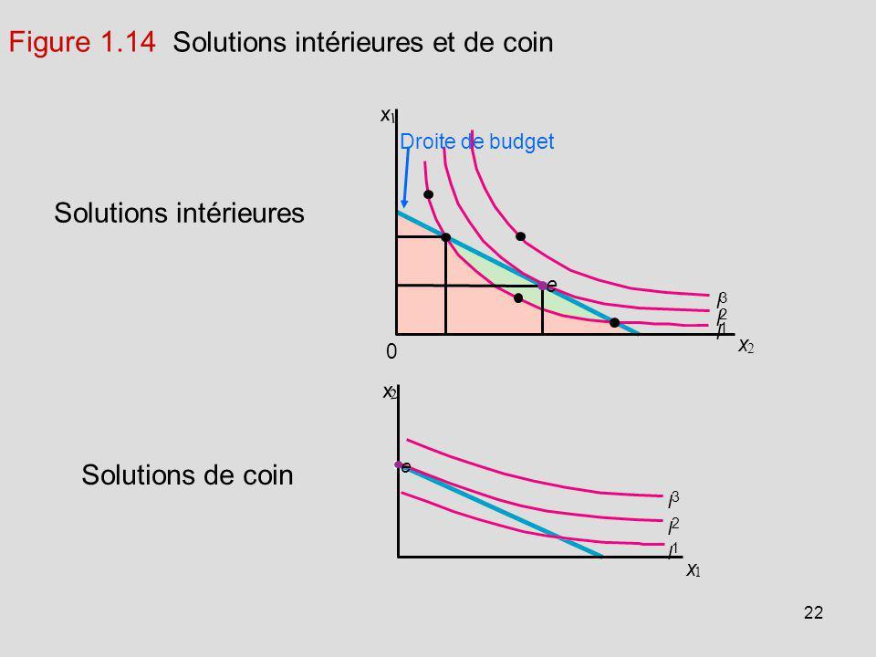 Figure 1.14 Solutions intérieures et de coin