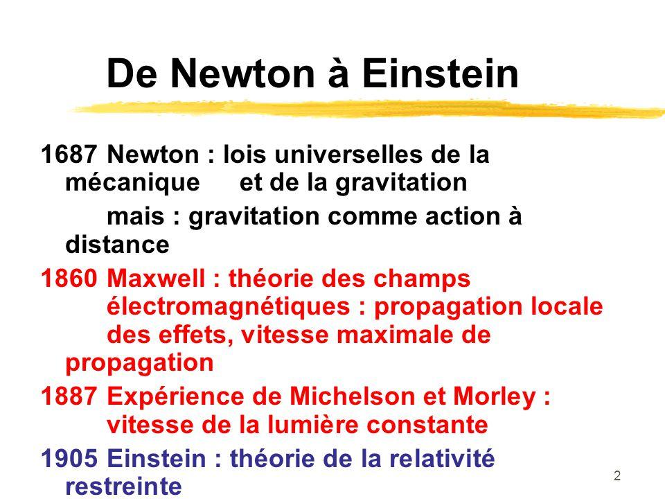 De Newton à Einstein 1687 Newton : lois universelles de la mécanique et de la gravitation. mais : gravitation comme action à distance.