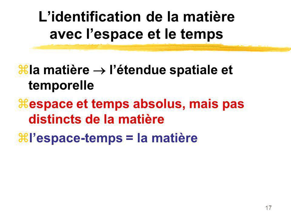 L'identification de la matière avec l'espace et le temps