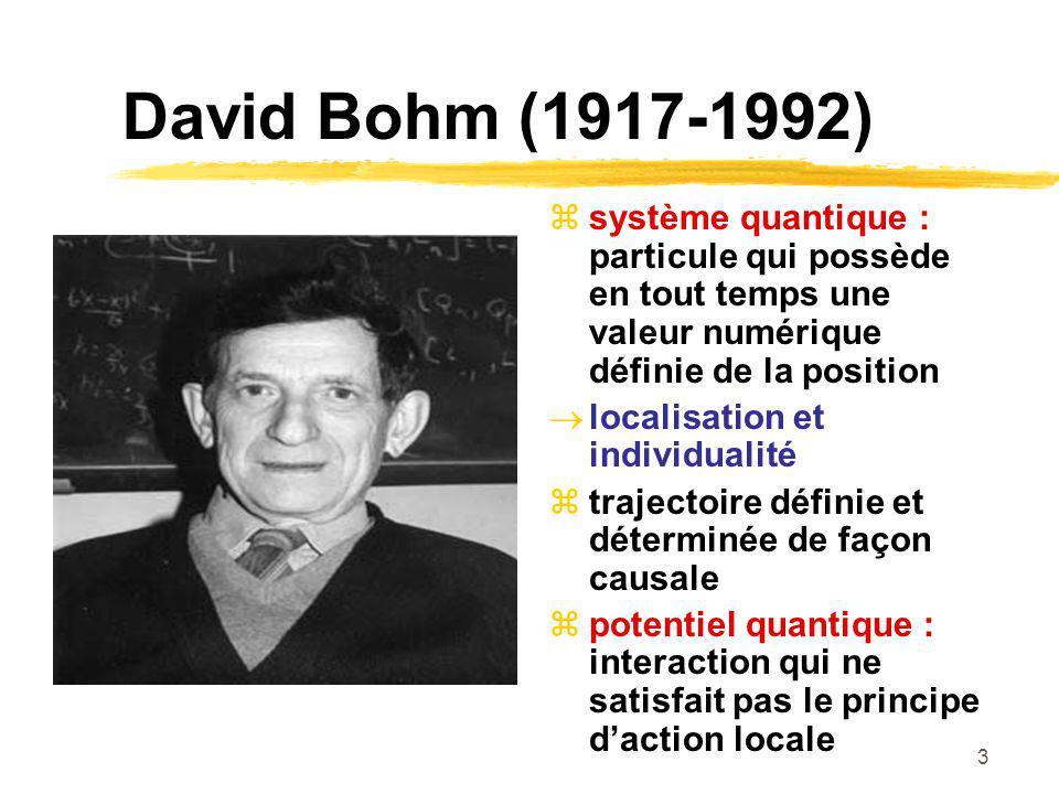 David Bohm (1917-1992) système quantique : particule qui possède en tout temps une valeur numérique définie de la position.