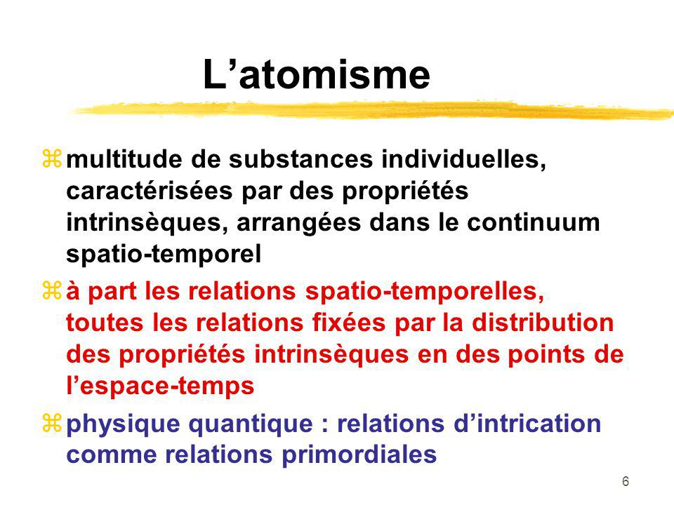 L'atomisme multitude de substances individuelles, caractérisées par des propriétés intrinsèques, arrangées dans le continuum spatio-temporel.