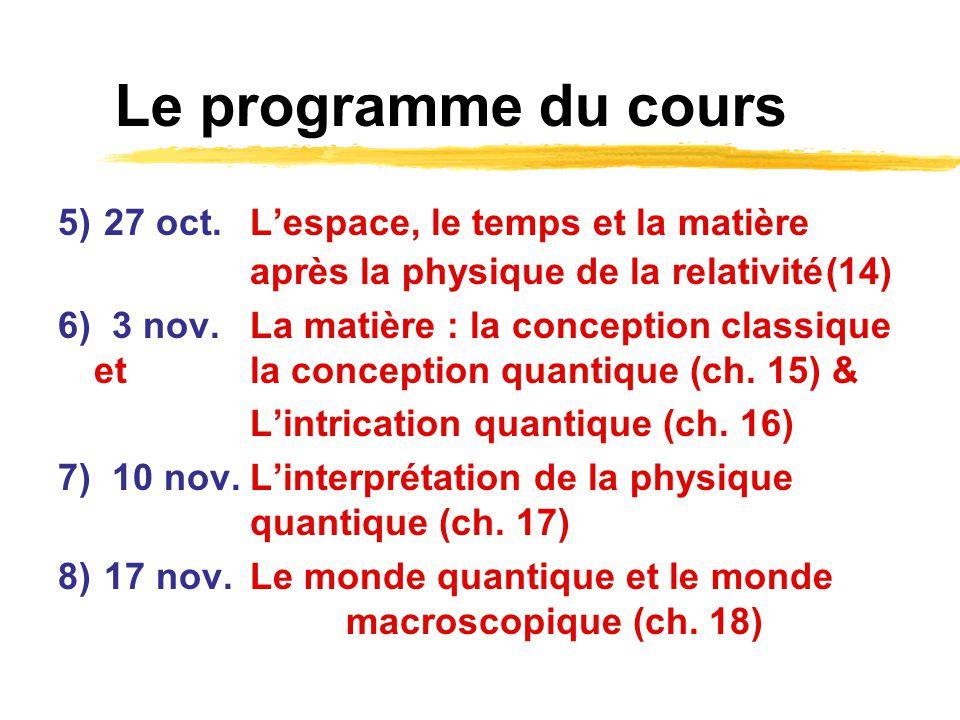 Le programme du cours 5) 27 oct. L'espace, le temps et la matière