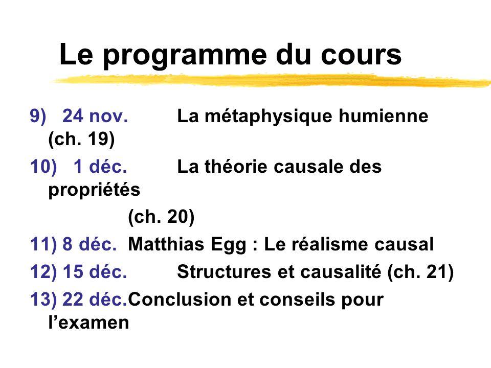 Le programme du cours 9) 24 nov. La métaphysique humienne (ch. 19)