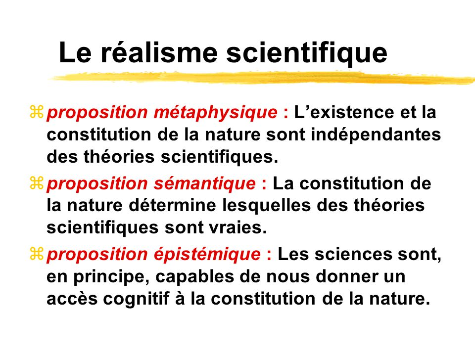 Le réalisme scientifique