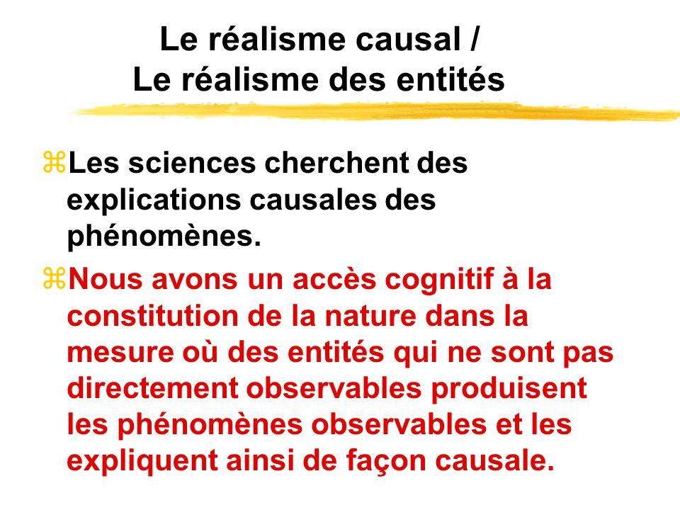 Le réalisme causal / Le réalisme des entités