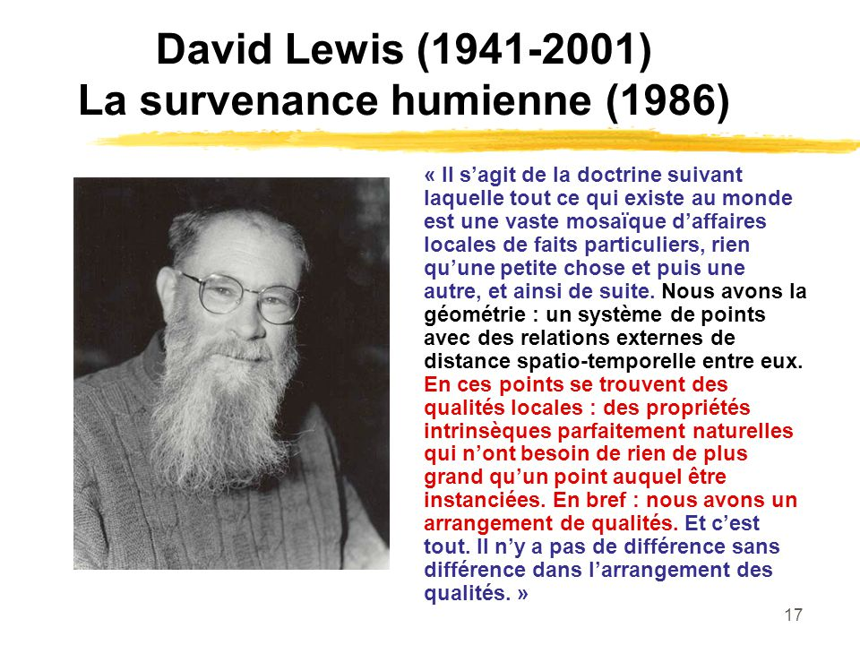 David Lewis (1941-2001) La survenance humienne (1986)