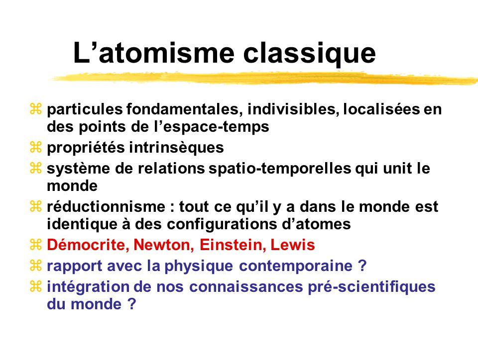 L'atomisme classique particules fondamentales, indivisibles, localisées en des points de l'espace-temps.