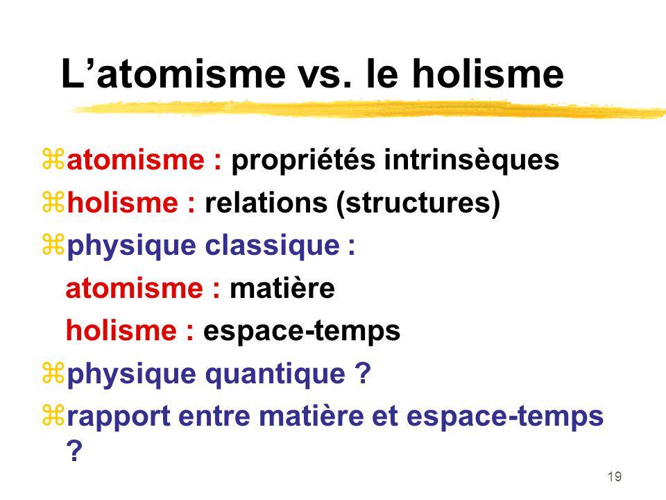 L'atomisme vs. le holisme