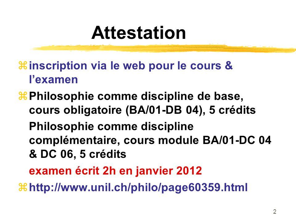 Attestation inscription via le web pour le cours & l'examen