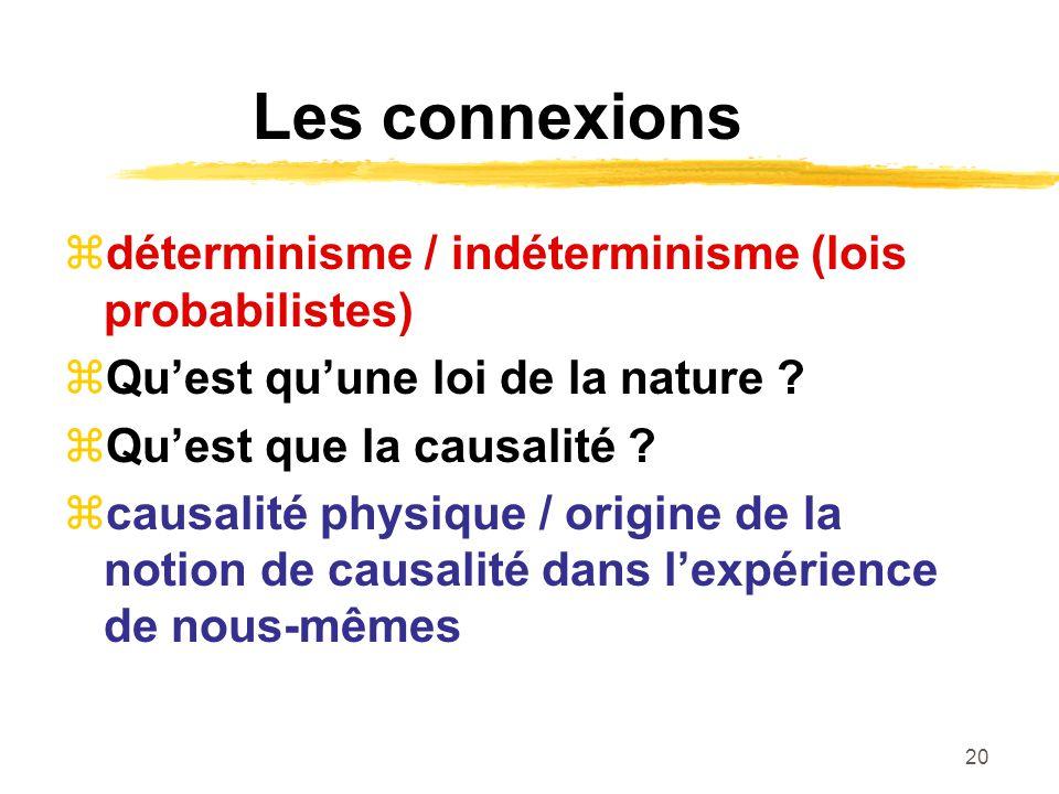 Les connexions déterminisme / indéterminisme (lois probabilistes)