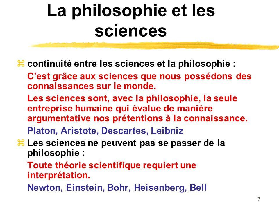 La philosophie et les sciences