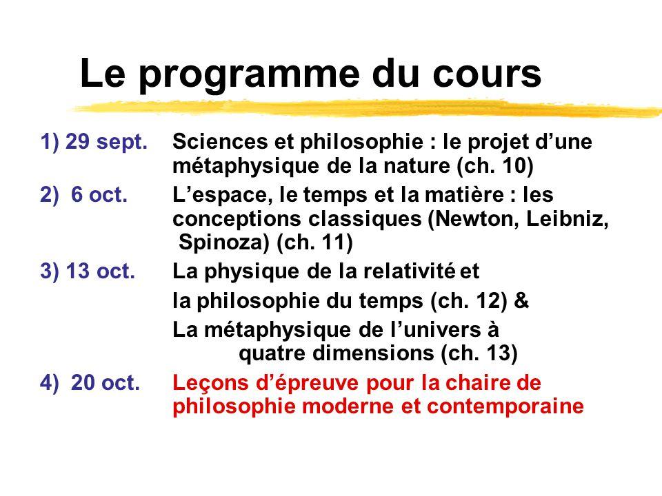 Le programme du cours 1) 29 sept. Sciences et philosophie : le projet d'une métaphysique de la nature (ch. 10)