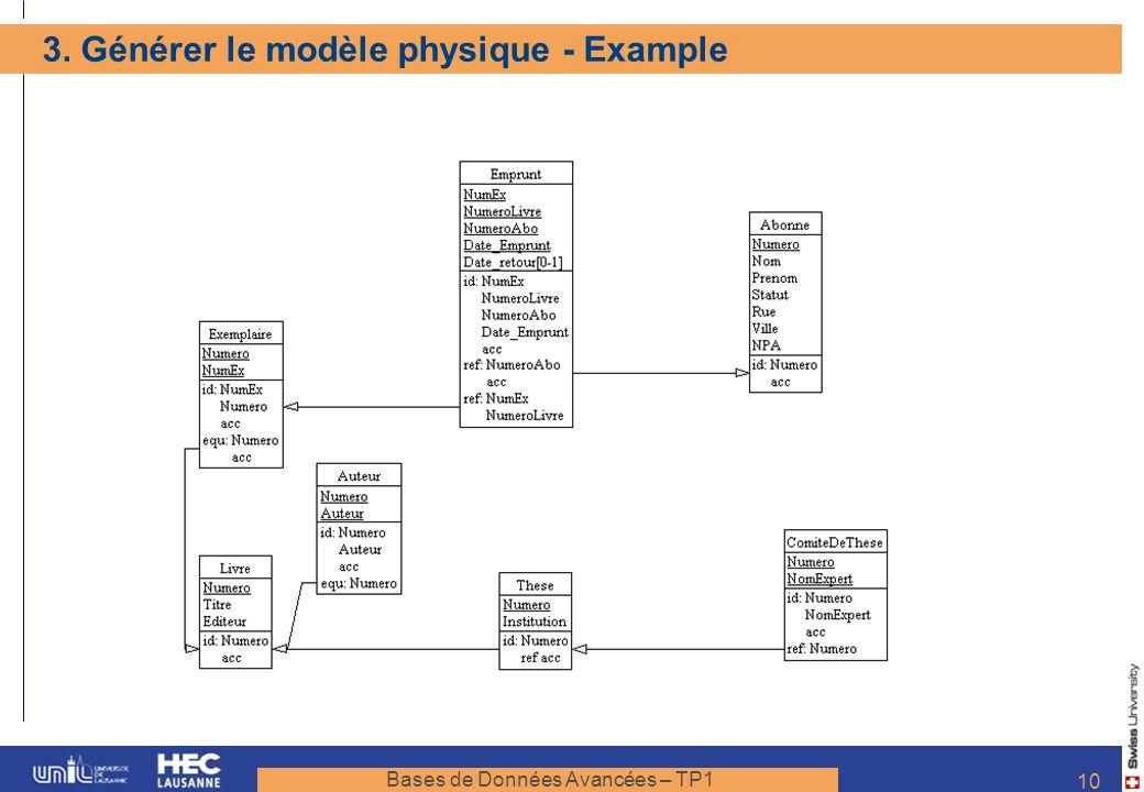3. Générer le modèle physique - Example