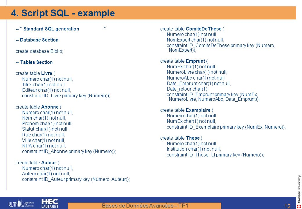 4. Script SQL - example -- * Standard SQL generation *
