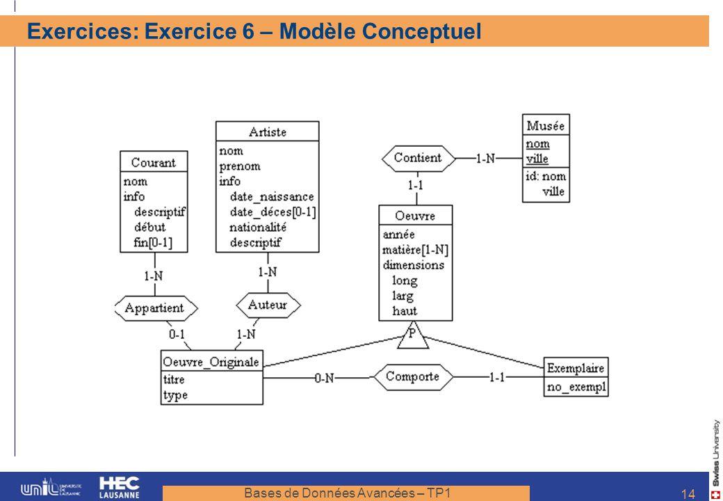 Exercices: Exercice 6 – Modèle Conceptuel