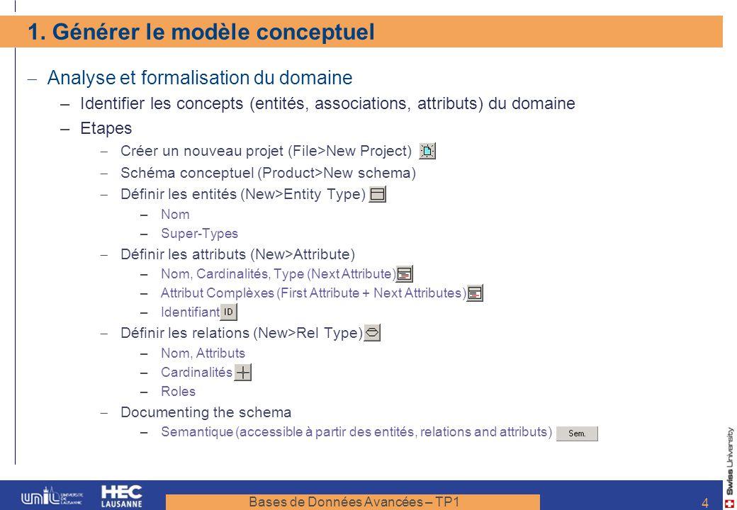 1. Générer le modèle conceptuel