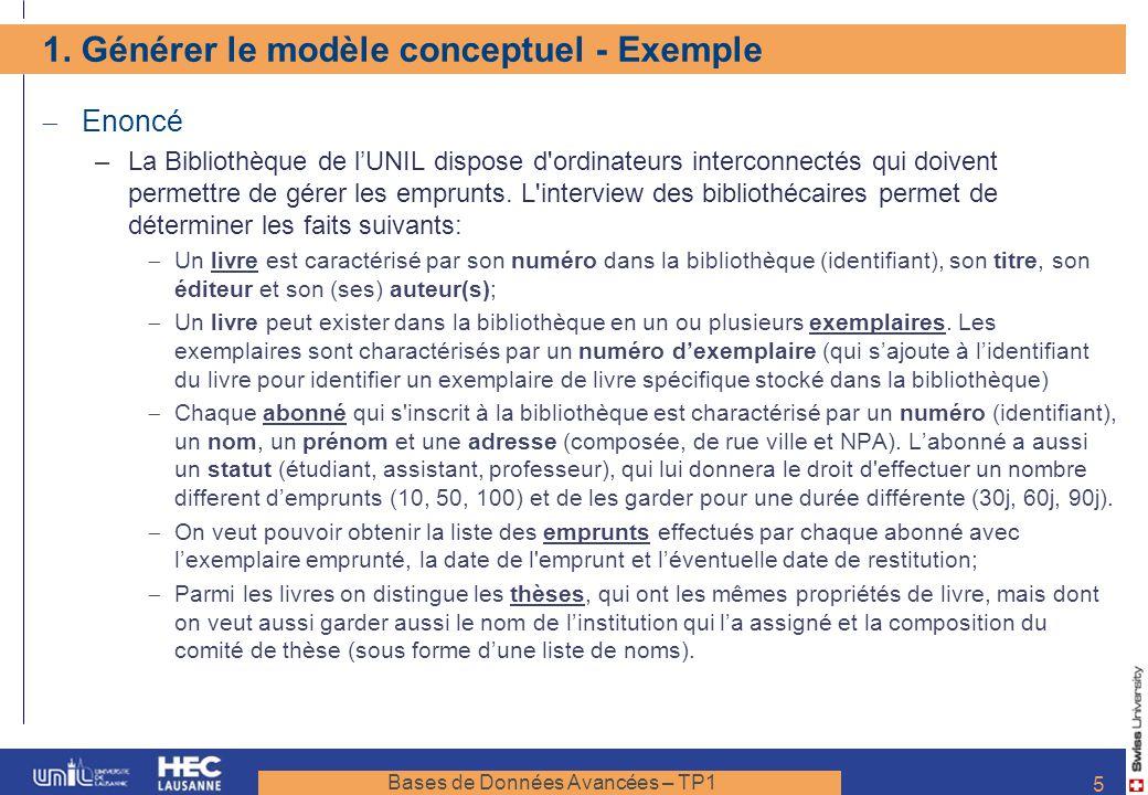 1. Générer le modèle conceptuel - Exemple