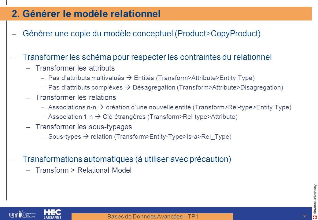 2. Générer le modèle relationnel