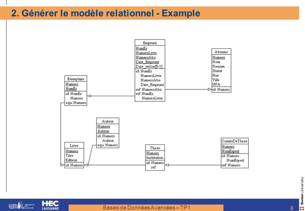 2. Générer le modèle relationnel - Example