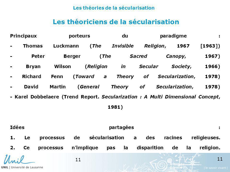 Les théoriciens de la sécularisation