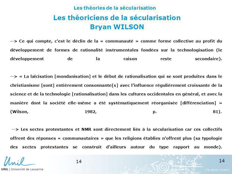 Les théoriciens de la sécularisation Bryan WILSON