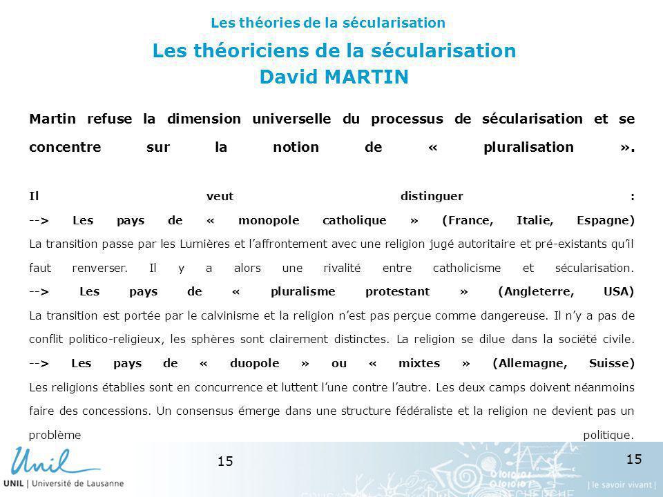 Les théoriciens de la sécularisation David MARTIN
