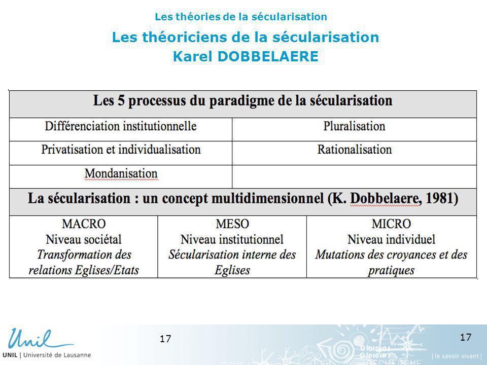 Les théoriciens de la sécularisation Karel DOBBELAERE