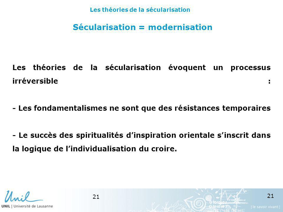 Sécularisation = modernisation