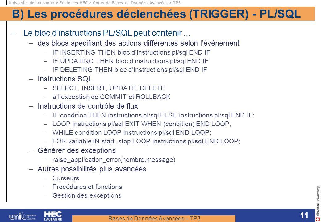 B) Les procédures déclenchées (TRIGGER) - PL/SQL