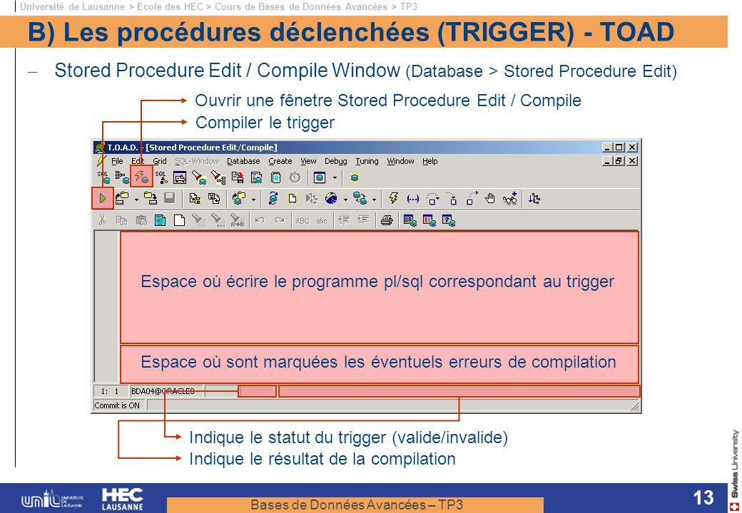 B) Les procédures déclenchées (TRIGGER) - TOAD