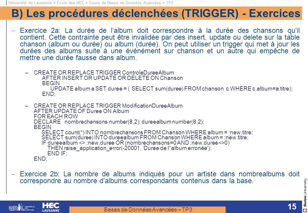 B) Les procédures déclenchées (TRIGGER) - Exercices