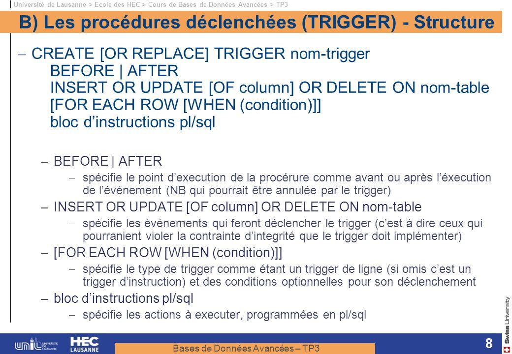 B) Les procédures déclenchées (TRIGGER) - Structure