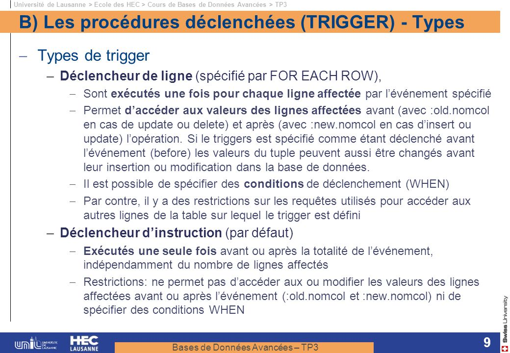 B) Les procédures déclenchées (TRIGGER) - Types