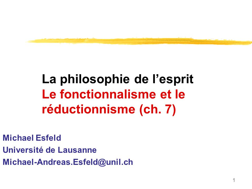 Michael Esfeld Université de Lausanne Michael-Andreas.Esfeld@unil.ch