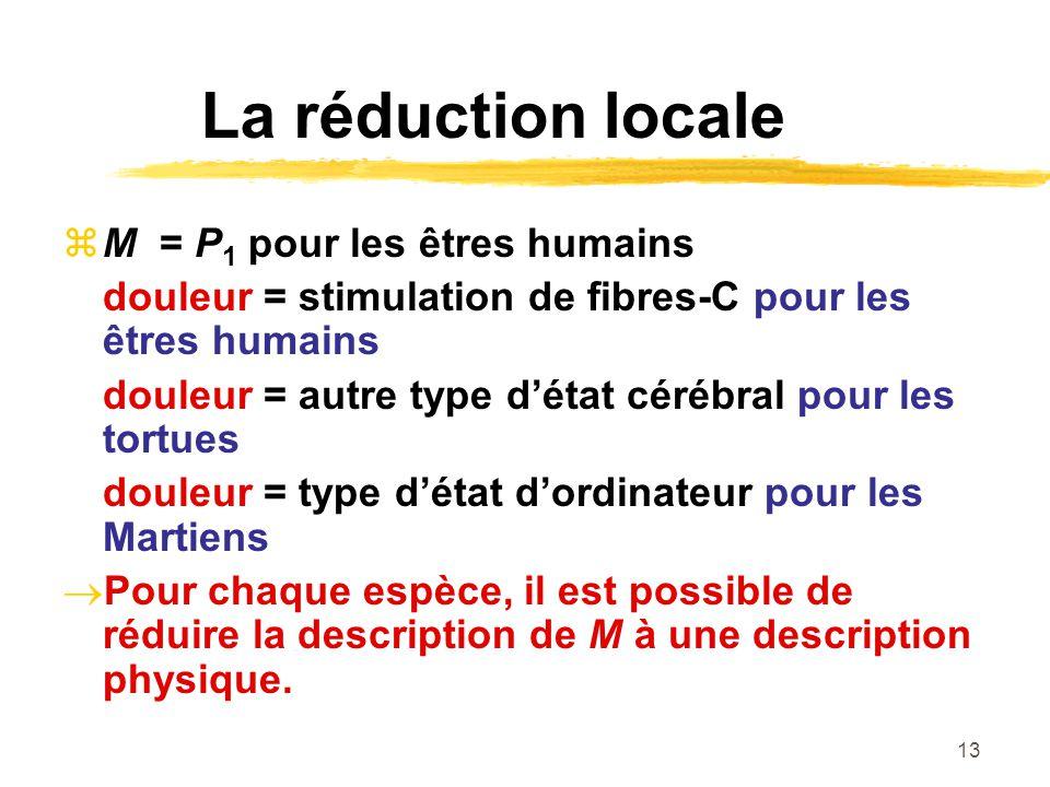 La réduction locale M = P1 pour les êtres humains