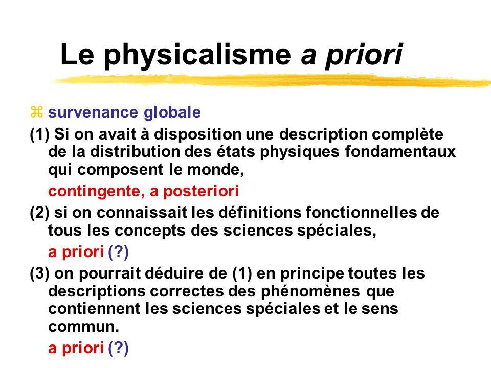 Le physicalisme a priori