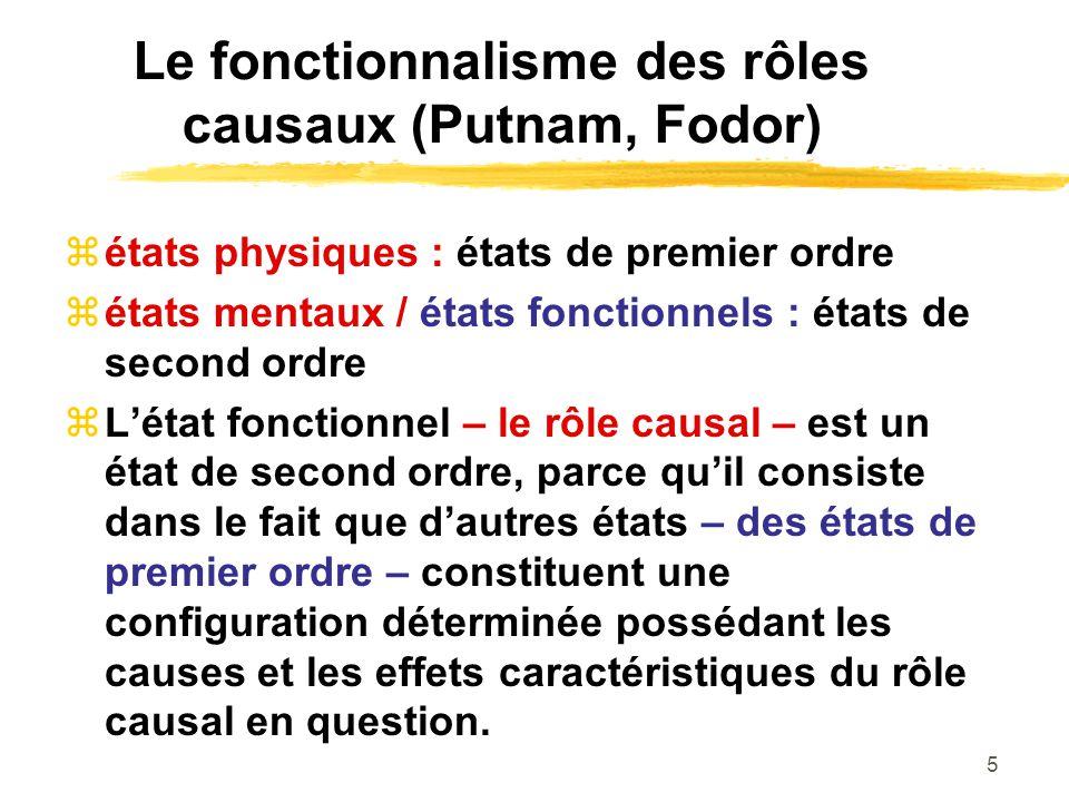 Le fonctionnalisme des rôles causaux (Putnam, Fodor)