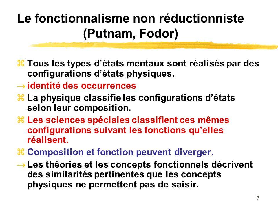 Le fonctionnalisme non réductionniste (Putnam, Fodor)