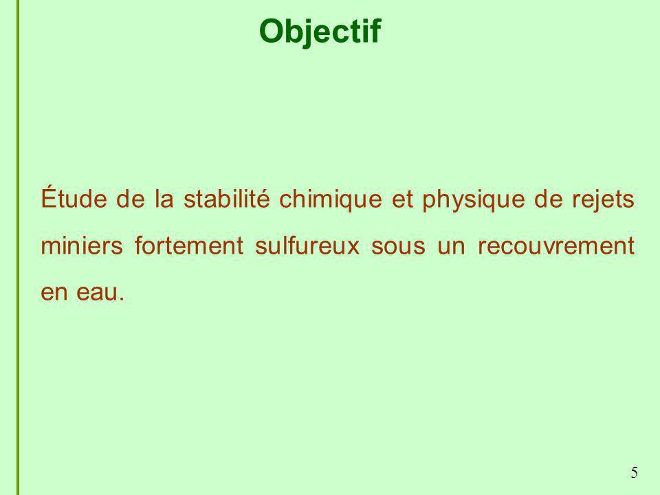 Objectif Étude de la stabilité chimique et physique de rejets miniers fortement sulfureux sous un recouvrement en eau.