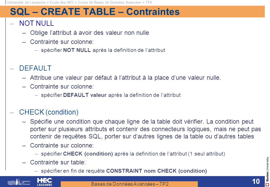 SQL – CREATE TABLE – Contraintes