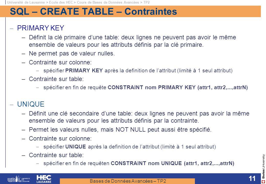 SQL – CREATE TABLE – Contraintes
