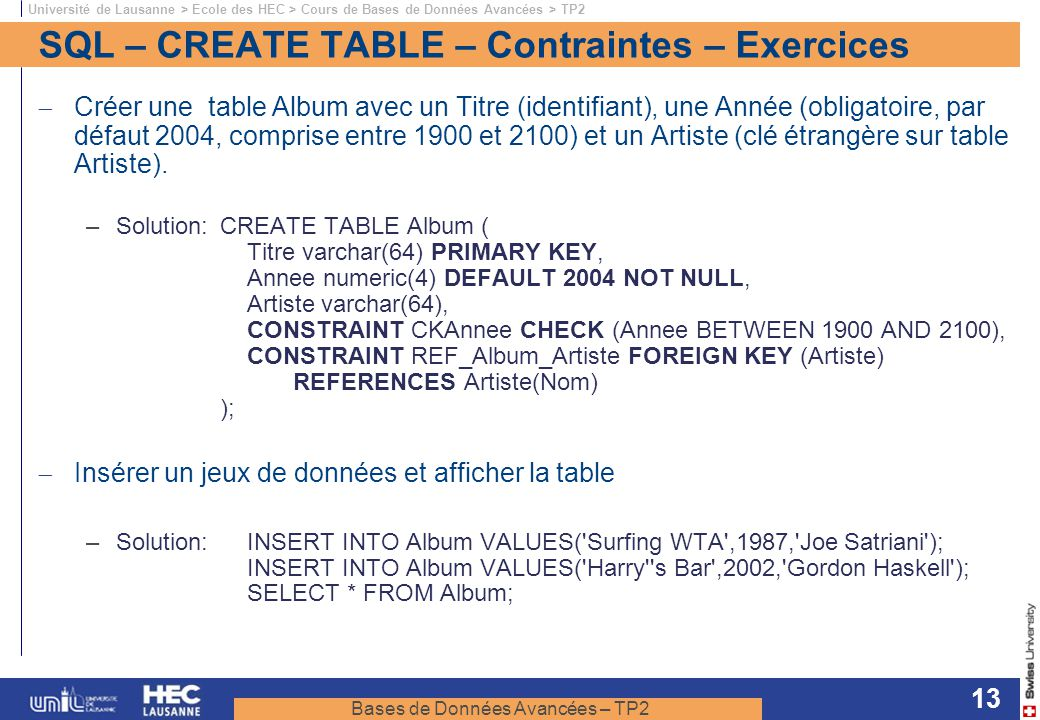 SQL – CREATE TABLE – Contraintes – Exercices