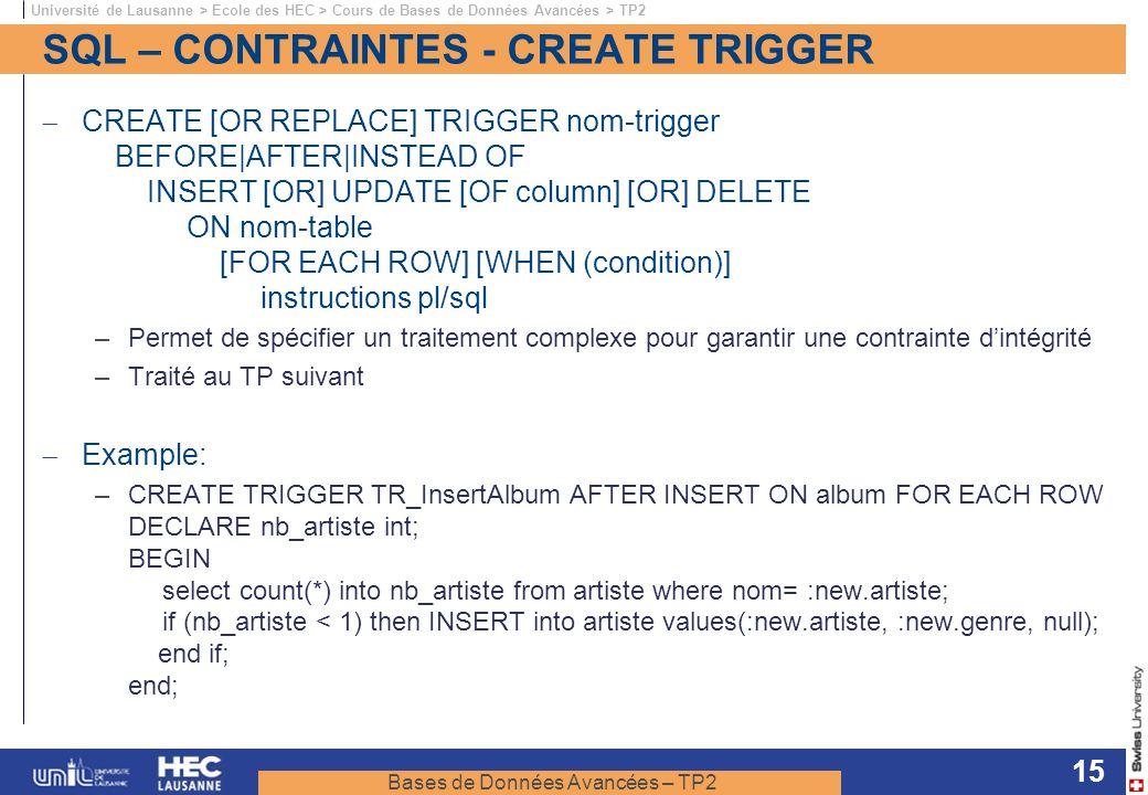 SQL – CONTRAINTES - CREATE TRIGGER