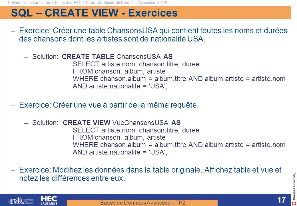 SQL – CREATE VIEW - Exercices