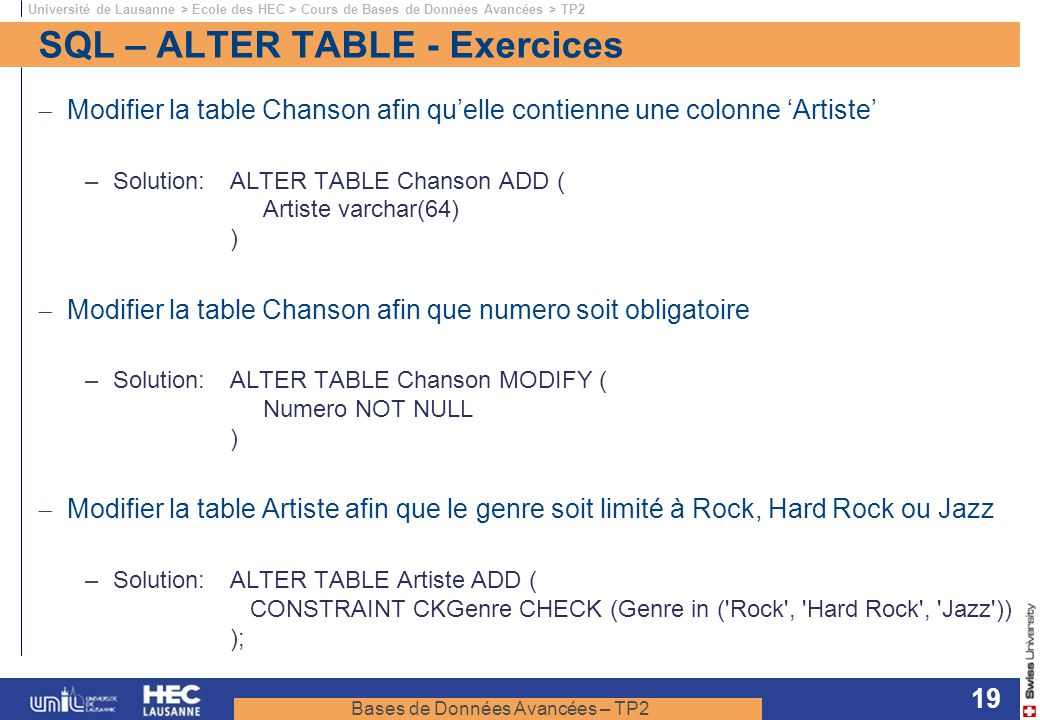 SQL – ALTER TABLE - Exercices