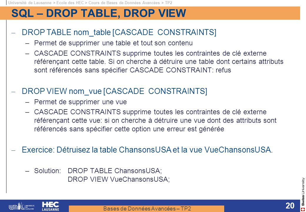 SQL – DROP TABLE, DROP VIEW