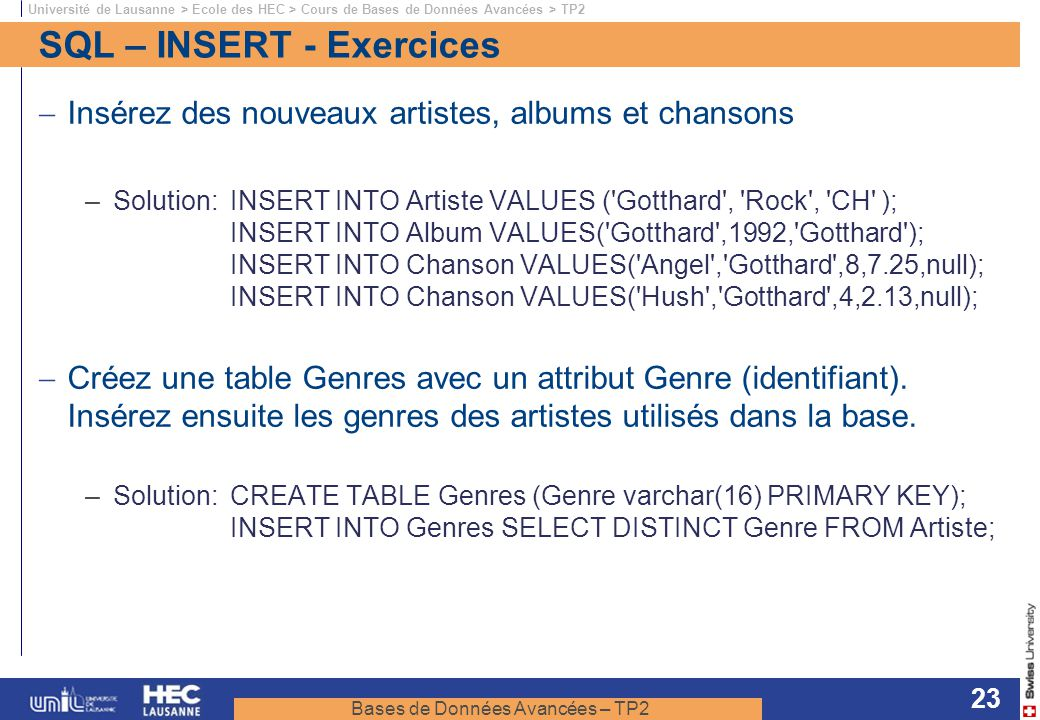 SQL – INSERT - Exercices