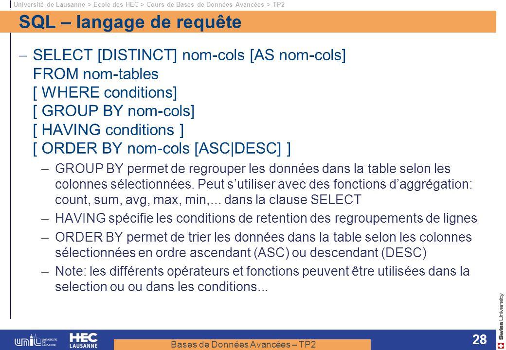 SQL – langage de requête