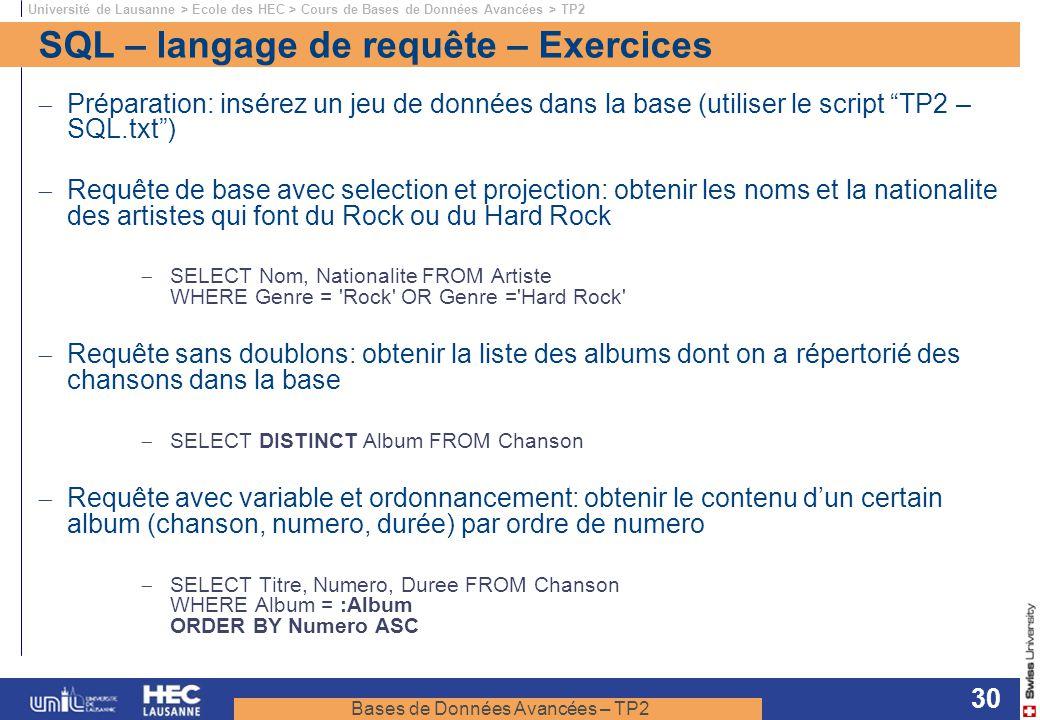 SQL – langage de requête – Exercices